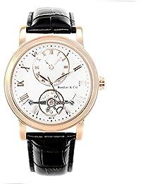 Boudier & Cie Herren-Armbanduhr Automatik Analog Leder Schwarz - B15H11