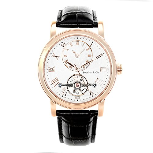 Boudier-Cie-Mens-Automatic-Watch-with-White-Dial-Analogue-Display-and-Black-Leather-Bracelet-B15H11