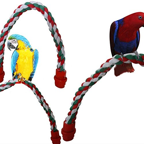 LA VIE Posatoio per Pappagalli in Colorato Corda di Cotone Flessibile Giochi Pappagalli Hanging standing Trespolo Bastone per Pappagalli Criceto Scoiattolo 44cm