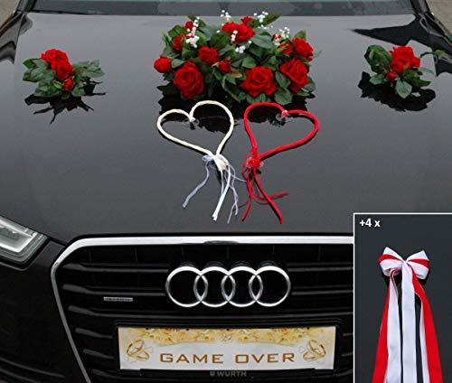Autoschmuck ECHTER ROSESTRAUSS Braut Paar Rose Deko Dekoration Hochzeit Car Auto Wedding Deko (Rot+Herzen)