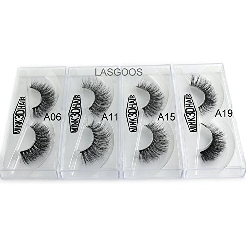 c82a63ccf03 4Box/Lot 3D Mink False Eyelashes LASGOOS 100% Siberian Mink Fur Luxurious  Fluffy Messy