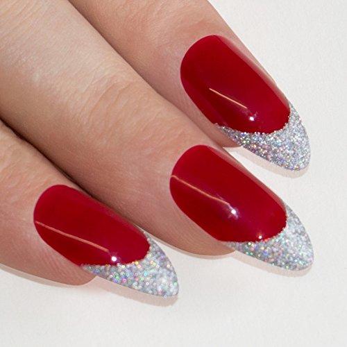 Art bling Stiletto faux ongles Acrylique rouge 4 Danger Moyen Conseils . UK