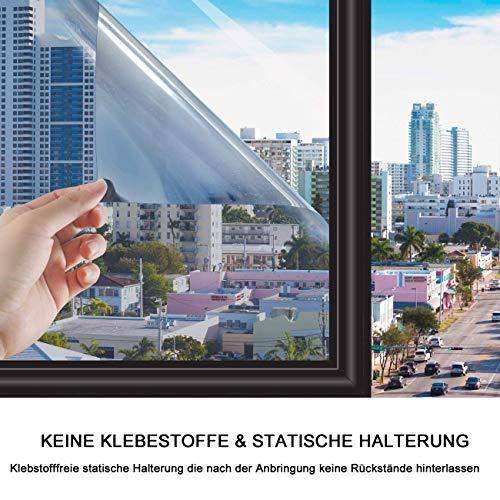 Sonnenschutzfolie Fensterfolie|Spiegelfolie|Hitzeschutzfolie Fenster|Privatsphäre Sichtschutzfolie Fenster|Selbstklebend Sonnenschutz Fenster Innen|Anti-UV Folie|Sichtschutz Glas-Tönungsaufkleber