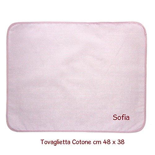 Coccole- tovaglietta bambini scuola materna personalizzata - 3 mesi - 5 anni tovaglietta asilo con nome (rosa)
