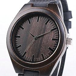 Handmade Wooden Watch Men Genuine Leather Bracelet Japanese Quartz