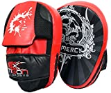 Curved Focus Pads Mitts Hook and Jab Punch Bag Kick Boxing Muay Thai Arm MMA UFC (Red)