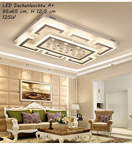 LED Deckenleuchte NXW803 95x65 cm mit Fernbedienung ist die Lichtfarbe/Helligkeit einstellbar A+LED Wohnzimmerleuchte Kronleuchte Pendelleuchte Deckenlampe Deckenstrahler (XW803-95x65 cm, 125W)