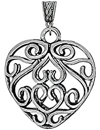 Sansar India Vintage Heart Pendant Long Chain Necklace For Girls And Women