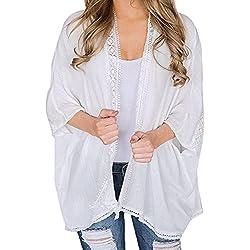 CICIYONER Mujeres Señoras de Encaje Capa Abierta Blusa de Capa Casual Kimono Chaqueta de Punto