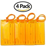 TravelMore Luggage Tags For Suitcases Flexible Silicone Travel ID Labels Set (4 Pack - Orange)