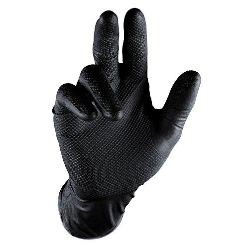 Grippaz Nitril-Handscuhe (50 Stück) latexfreie Arbeitshandschuhe extrem robust&reißfest, Schwarz, M