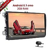 Backup Kamera Android 8.1 Quad Core 2GB RAM Doppel DIN Auto Player mit GPS Navigation 22,9 cm Touch Bildschirm KFZ Stereo Radio Receiver in Dash Haupteinheit Autoradio Bluetooth Link SWC für VW