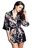 Edler Morgenmantel Kimono aus Satin schwarz Größe M