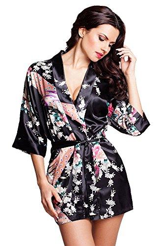 VA-Fashion Edler Morgenmantel Kimono aus Satin schwarz Größe S