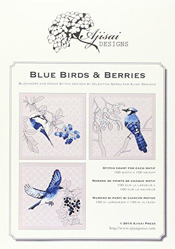 Blue birds & Berries. Cross stitch and blackwork designs Blackwork-design