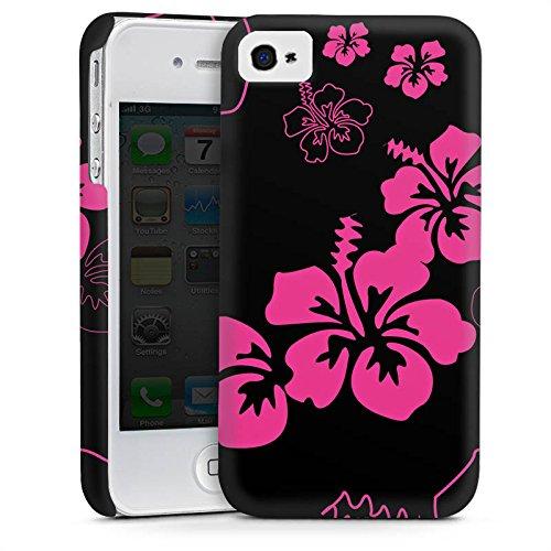 Apple iPhone 5 Housse Étui Silicone Coque Protection Fleurs Fleurs Noir rose Cas Premium mat