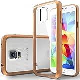 Funda Galaxy S5, Caseology® [Serie Clear Back Bumper] Espalda Transparente Parachoques de Híbrido [Oro] para Samsung Galaxy S5 (2014) - Oro