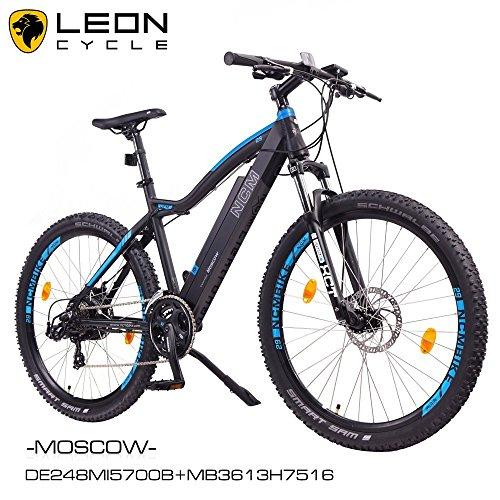 "NCM Moscow 29"" Zoll Elektrofahrrad Mountainbike,E-MTB E-Bike,Pedelec, 36V 250W Bafang Motor, 36V 13Ah designer Rahmen Akku,matt schwarz,hell blau"