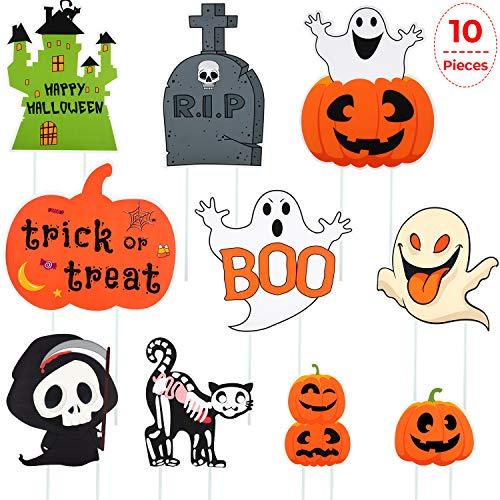 10 Stücke Halloween Gartenschilder Garten Pfähle Yard Stake Sign Kürbisse Ghost Yard Schilder mit Einsätzen für Halloween Outdoor Dekoration -