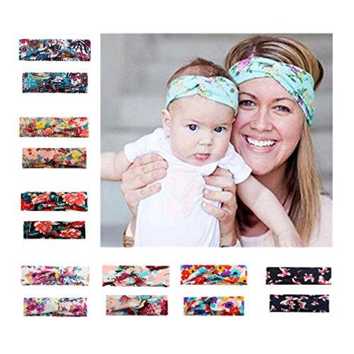 CHSEEA 7 Stück Baby Mutter Stirnbänder Elastische Haarband Turban Kleinkind Stirnband Haar Bogen Fliege Schleife Haarreifen Mädchen Head Wrap zur Kostüm Fotografie Props #2 (Engel Baby Kleinkind Weihnachten Kostüm)