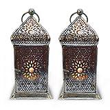 Deko Laterne Set/2 Metall Silber Teelicht Orientalisch Zum Stellen und Hängen Gall&Zick