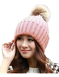 ISASSY Women's Faux fur Winter Warm Knit Knitted Bobble Pom Beanie Bobble Baggy Crochet Ski Cap Hat