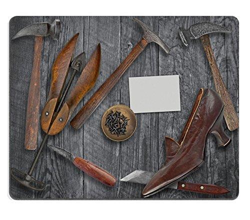Luxlady Gaming Mousepad foto ID: 34692849 vintage da donna per scarpe e shoemakers tools su tavolo in legno con spazio per il testo su blank biglietti da visita