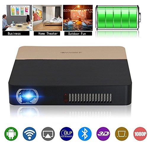 DLP Projektor 3D Mni Tragbar, Wireless Android Beamer unterstütz 1080p Bluetooth 3D Lautsprecher Full HD-Projektor 1280x800 HDMI USB Audio TF für Smartphone iPad Laptop PC PS4 PS3 Xbox Spiele