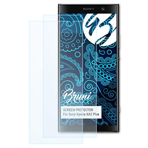 Bruni Schutzfolie kompatibel mit Sony Xperia XA2 Plus Folie, glasklare Bildschirmschutzfolie (2X)