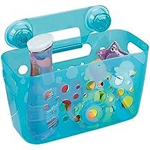mDesign Canasto con ventosa, organizador del baño del bebé/los niños, para el cubículo de ducha; guarda juguetes del baño, champú, acondicionador, jabón - Agua transparente