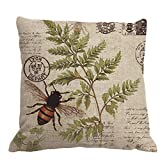 Nunubee 45*45CM Cotton Pillowcase Bed Square Decorative Bee Cushion Cover Pillow Case Pillow Covers Throw Home Sofa