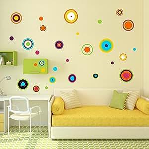 Edesign24 adesivi da parete pois colorati cerchi retr da - Decorazione parete cameretta ...