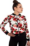 Blouson Damen Übergangsjacke Blumenprint Fliegerjacke mit Blumen Retro Pilotenjacke floral Blüten Muster Bomberjacke (S/M, Weiß/Rot)