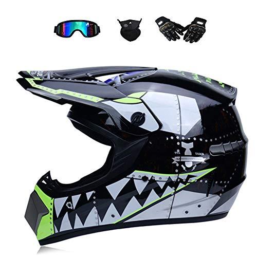 n, Doppel-Sport-Motocrosshelm Motorradhelm ATV-Roller-Downhill-Schutzhelm mit Brille UV Sschutz Handschuhe Maske - Helle Grafik des Schwarzen Hais,S(52~54CM) ()