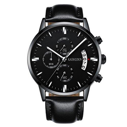 Kashidun Herren Sports Fan Uhren Casual Quarz Wasserdicht Chronograph Datum Leder watches-black. tl-qhp