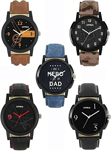 Xforia Multi Color Dial Analog Watch For Men & Boys (Pack of 5)
