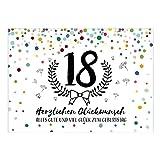 Große XXL Design Glückwunsch-Karte zum 18. Geburtstag mit Umschlag/DIN A4/Konfetti Look mit Kranz/Volljährig/Grußkarte