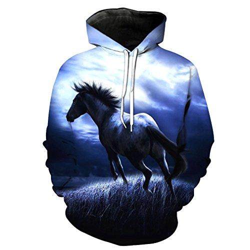 Sweatshirt Männer/Frauen 3D Hoodies Drucken White Horse Tier Muster Schlank Unisex Schlank Stilvolle Mit Kapuze Hoodies 1851 L