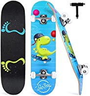 """BELEEV Skateboards for Beginners, 31""""x8"""" Complete Skateboard for Kids Teens & Adults, 7 Layer Ca"""
