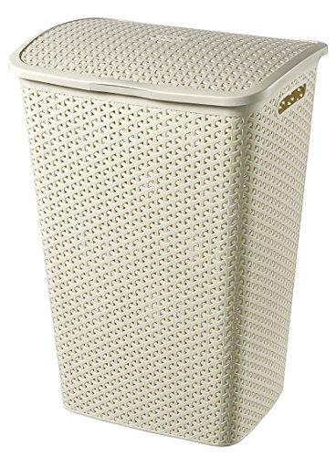 Curver Wäschekorb, 55Liter,Rattan-Effekt, Vintage, Weiß