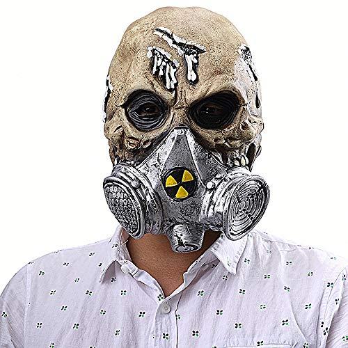 Halloween Gasmaske Schädel Gesicht Maske Grimasse Karneval Scary Maske Verwesender Zombie Kopf Horror Gruselig Latex Masken Scream für Halloween Fasching Karneval Party Kostüm Cosplay - Scary Kostüm Mit Gasmasken