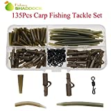 Shaddock Fishing 135pcs Carp Fishing Accessories Safety Lead Clips Soft Tail Rubbers Quick Change Swivels Anti Tangle Hook Sleeves Set with Tackle Box
