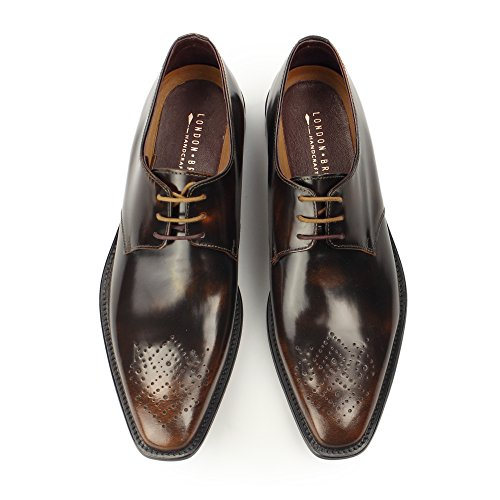 London Brogue richelieus Earl Derby Homme Mocassin Tan Polished Leather