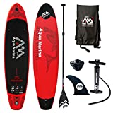 Aqua Marina Monster Modell 2018 12.0 iSUP Sup Stand Up Paddle Board mit Sport II Paddel, Rot schwarz, 365cm x82cm x 15cm