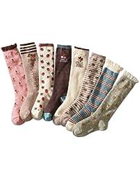Cczmfeas Calcetines hasta la rodilla para niña Encantador Calcetines con suela de algodón 8 pares de calcetines