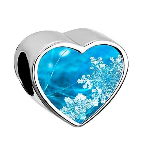 Lovelycharms - ciondolo natalizio a forma di cuore per braccialetti europei e base, cod. 43213-93374