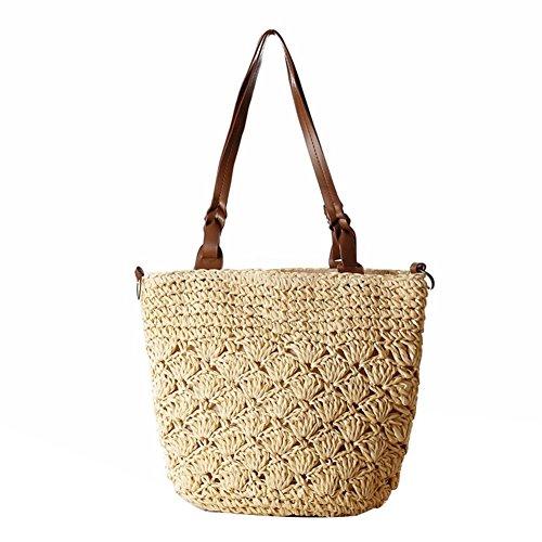 Beige Handtaschen Stroh (Stroh Hohle Schultertasche Crossbody Handtaschen Gewebte Frauen Mode Weave Einfache Strandtasche , beige)