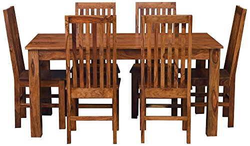 Solid Wood Designers Six Seater Dining Table Set (Natural Teak)