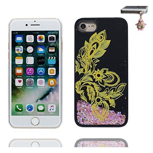 Coque iPhone 7, [Bling Glitter Fluide Liquide Sparkles Sables] iPhone 7 étui Cover (4.7 pouces), iPhone 7 Case anti- chocs & Bouchon anti-poussière - Elegance Noir 1