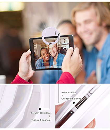 SOUNDMAE Portable Selfie LED Ring Light Clip On Phone [Aaa Batteries] Selfie LED Camera Light [35 LED] for iPhone Android Phone Camera iPad Tablet Photography Phones - Mint White
